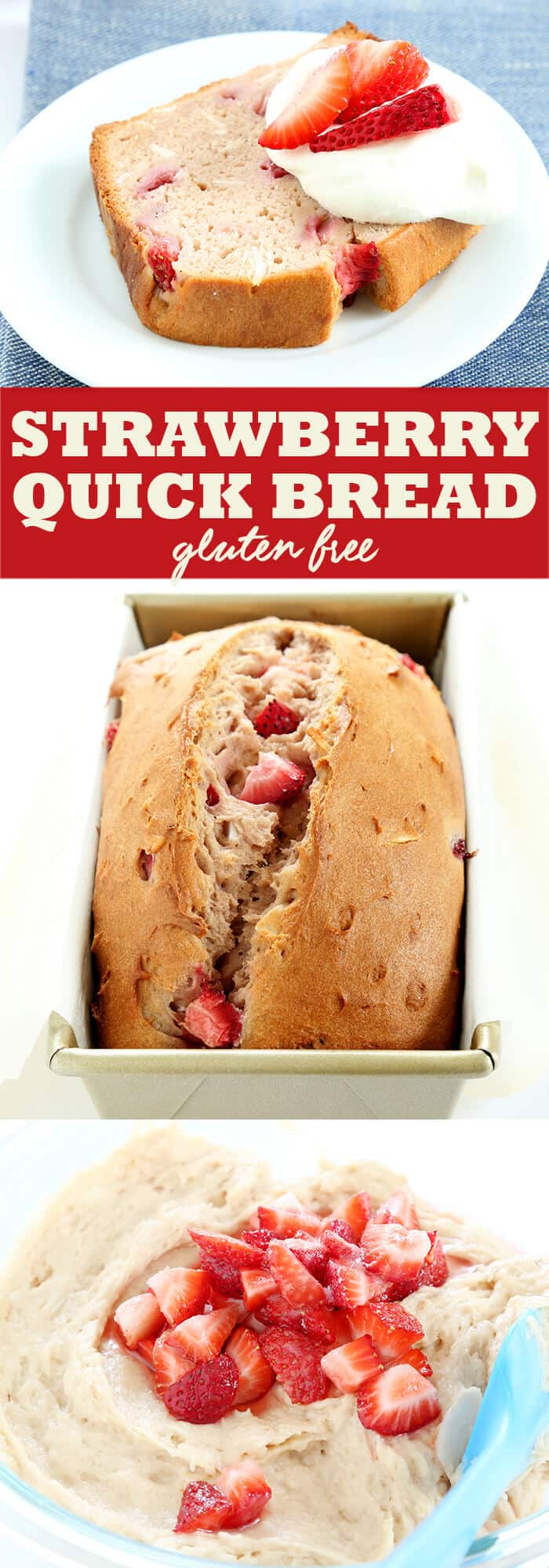 Fresh gluten free strawberry bread, packed with strawberry flavor. It can even be made with frozen berries. A perfect alternative to banana bread.