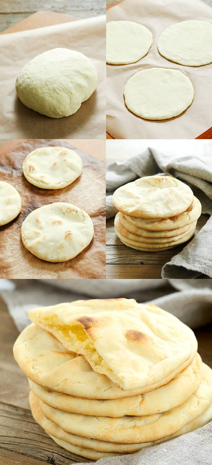 Pia bread on a brown surface, pita bread stack on a wooden surface, and a close up of a stack of pita bread