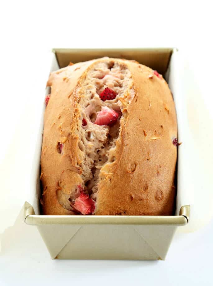 This soft and tender gluten free strawberry bread is lightly sweet and packed with strawberry flavor. A perfect spring alternative to banana bread!