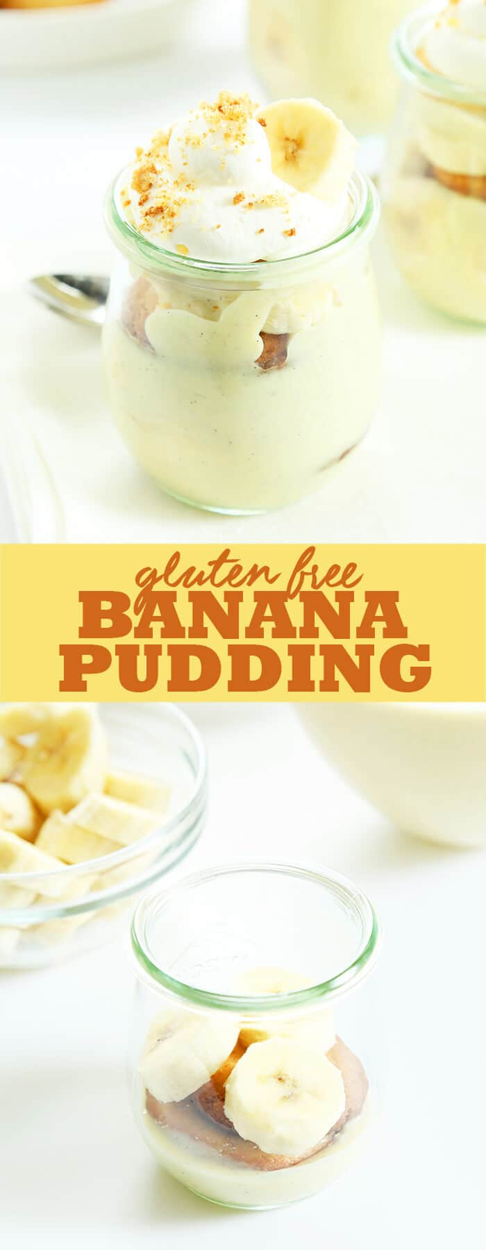 This gluten free banana pudding takes a classic Southern dessert to another level with banana puree cooked right into the smooth, creamy pudding. Make your own GF vanilla wafers, or use store bought for the perfect nostalgic dessert! https://glutenfreeonashoestring.com/gluten-free-banana-pudding/