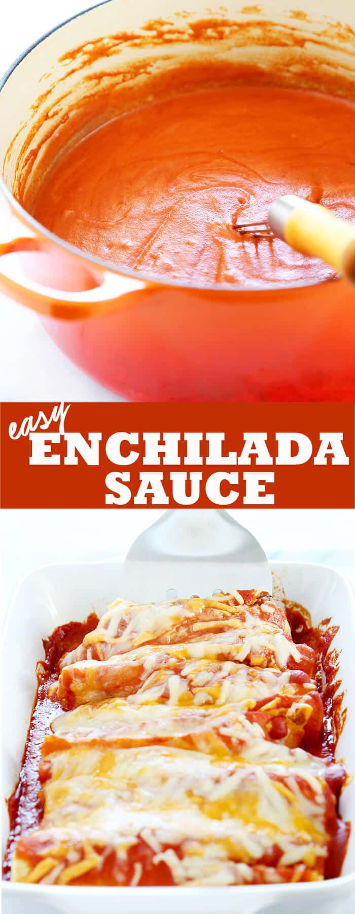 An orange pot with enchilada sauce and enchiladas in a casserole dish with a spatula