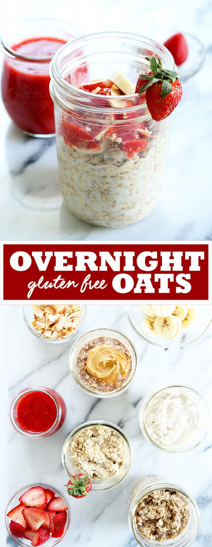 Gluten free overnight oats are made with just rolled oats, some seeds and any sort of milk, and take less than 5 minutes of prep time. A fast, nutritious and filling breakfast, with endless flavor variations! https://glutenfreeonashoestring.com/overnight-oats/