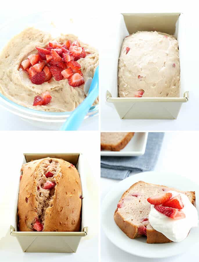 Strawberry bread dough in a bowl, strawberry bread dough in a laid pan, strawberry bread in a loaf pan, and a slice of strawberry bread on a white plate