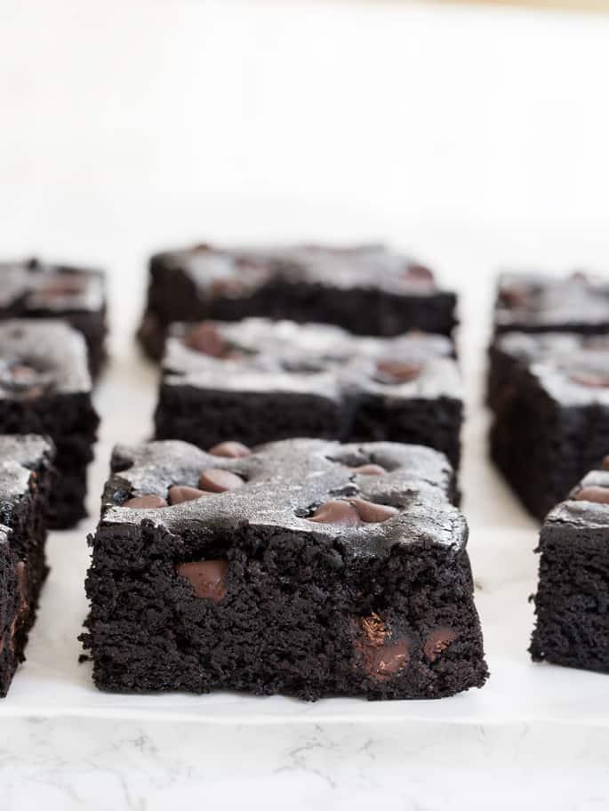 Side image of chocolate chip black bean brownie squares