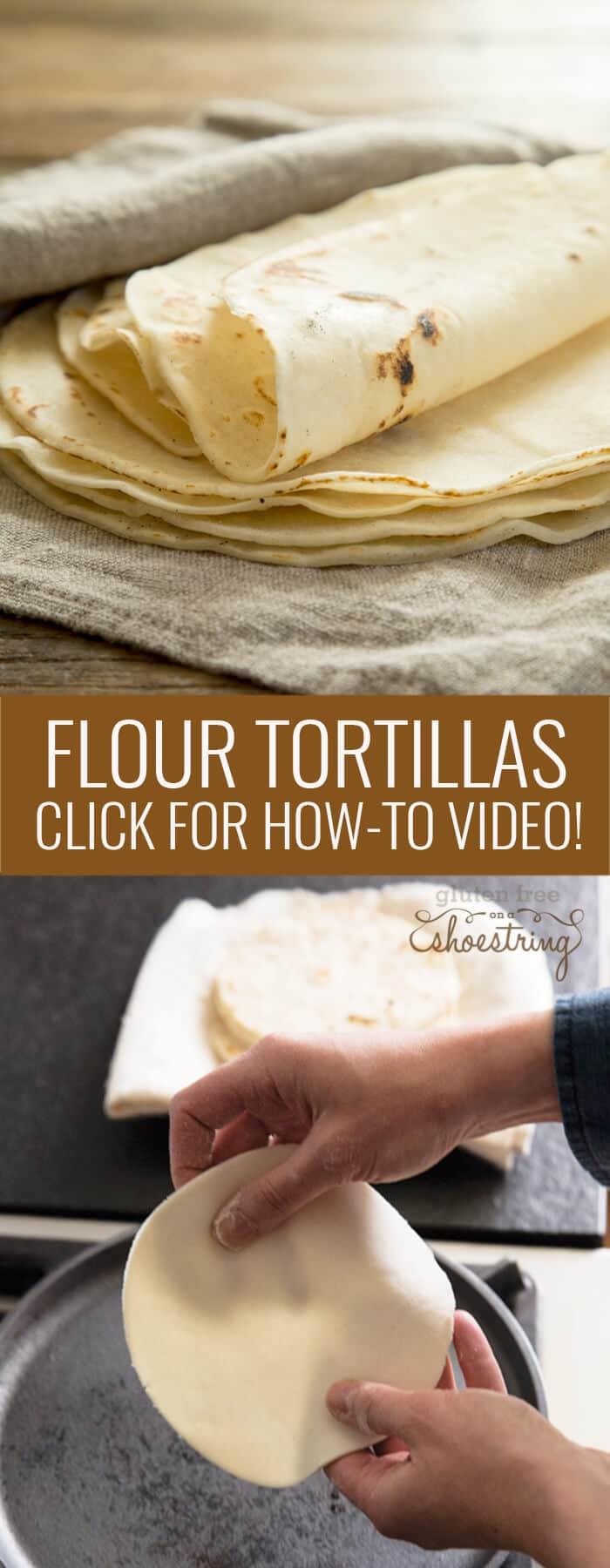 Flour tortillas on gray towel and flour tortillas on white towel