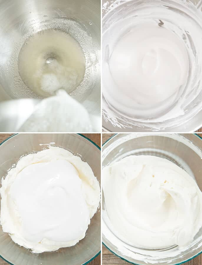 Ingredients for ice cream being mixed in clear bowl