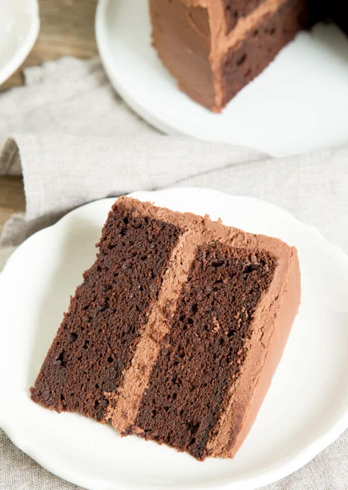 A piece of chocolate cake on a plate, with Ganache