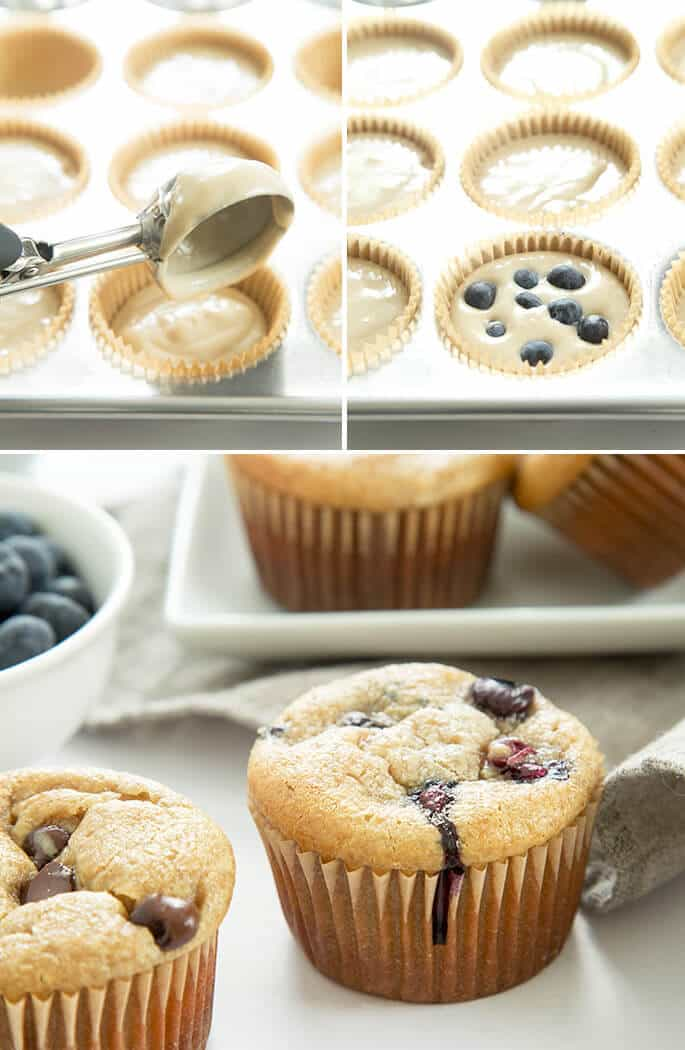 Muffin batter being scooped into muffin top, muffin batter with blueberries in muffin tin, and close up of muffins with blueberries on a gray towel