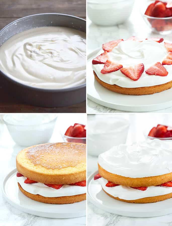 Sponge cake batter, a sponger cake, a sponge cake with 2 cakes, and a sponge cake with 2 frosted cakes
