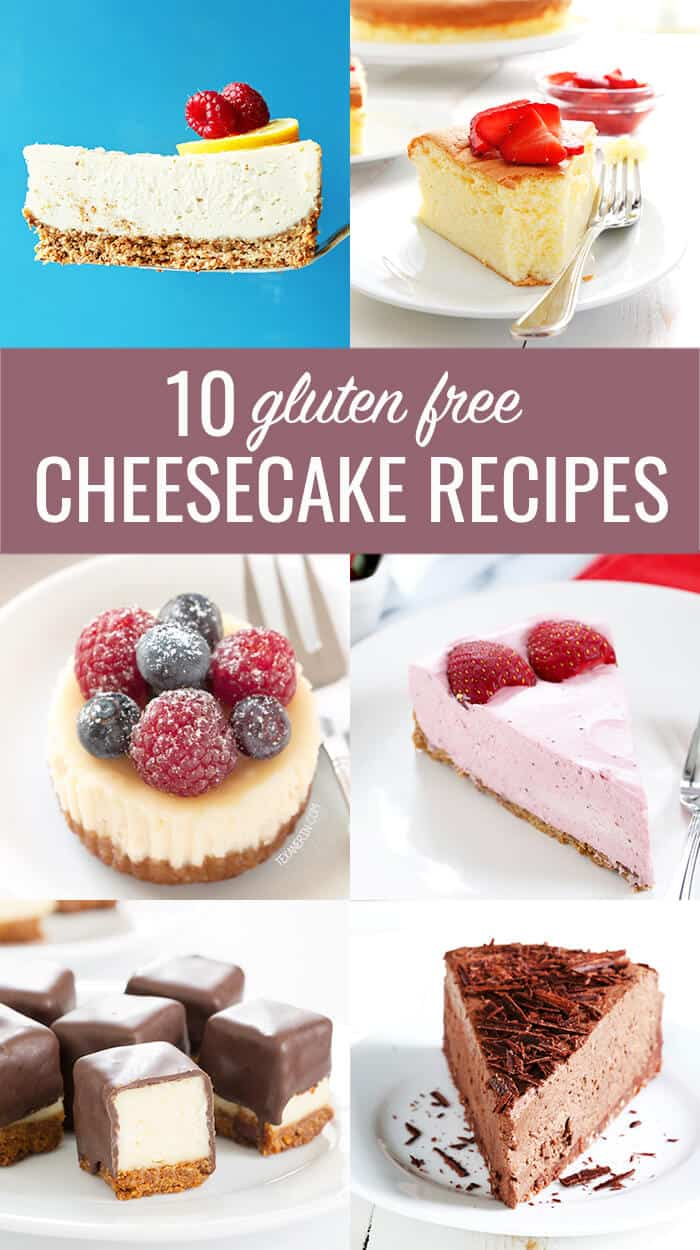 10 Perfect Gluten Free Cheesecake Recipes. For everything from classic to no bake, miniature bites to vegan. All the best recipes! https://glutenfreeonashoestring.com/gluten-free-cheesecake-recipes/