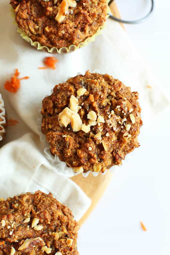 Easy wholesome carrot walnut muffins. Just one bowl required. Vegan and gluten free.