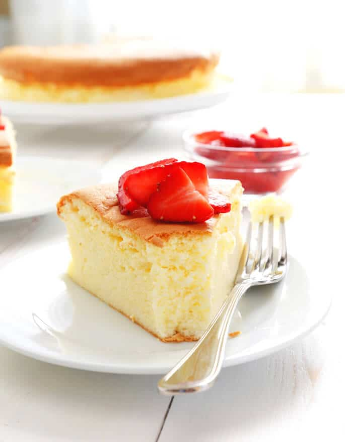 Gluten Free Japanese Cheesecake is the perfect cross between a traditional, New York cheesecake and a sponge cake—with all the taste of the cheesecake (love) and the texture of the sponge cake (so light!).