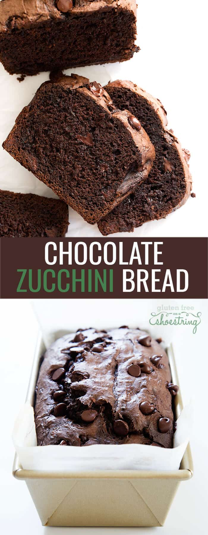 3 slices of chocolate zucchini bread on white surface and chocolate zucchini bread in a loaf pan
