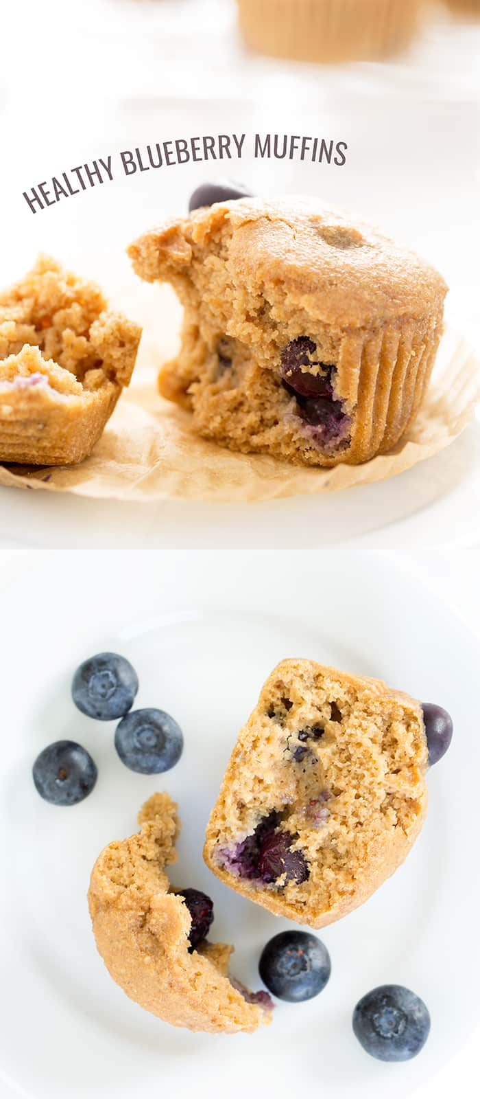 Closeup image of broken blueberry muffin and overhead image of broken blueberry muffin with more blueberries