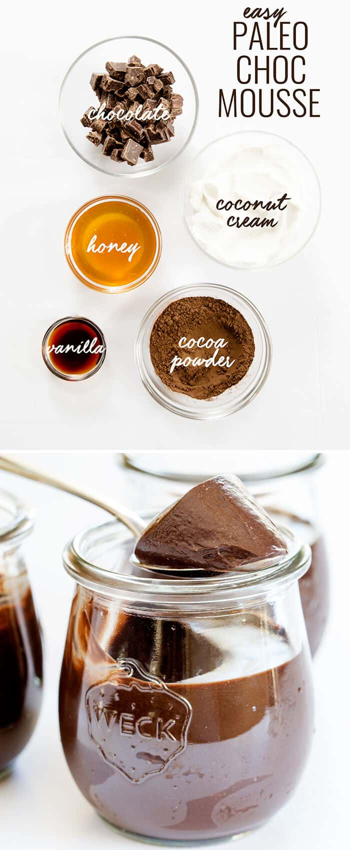 Overhead view of cocoa powder vanilla and honey in separate bowls and chocolate mousse in a jar being scooped out below