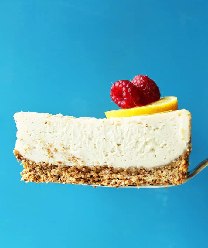 Baked vegan gluten free cheesecake from Minimalist Baker