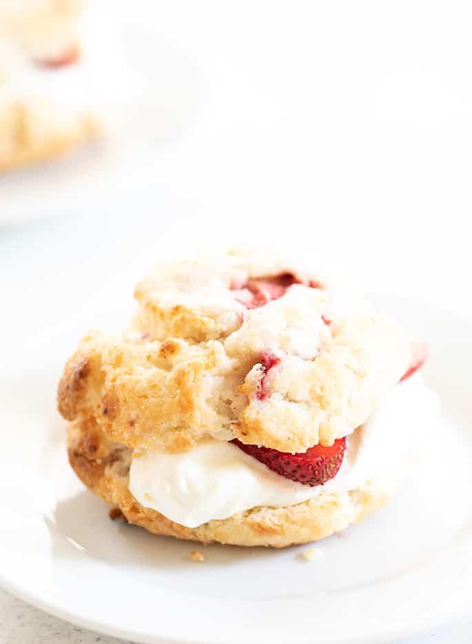 Strawberry shortcake assembled on small plate