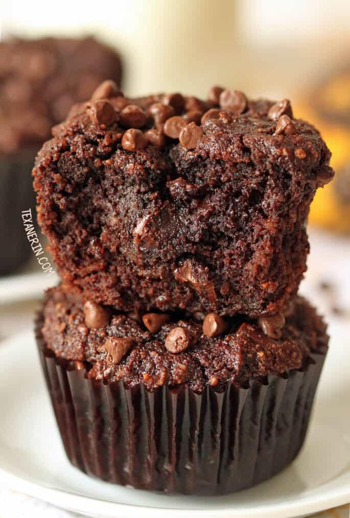 Healthy chocolate banana Paleo muffins