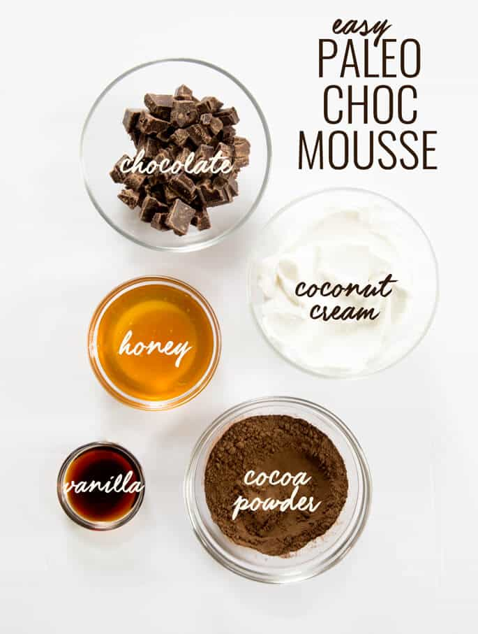 Smooth and creamy Paleo chocolate mousse, made with chocolate, coconut cream, cocoa powder, honey and vanilla. Just blend it and let it set. So rich delicious! https://glutenfreeonashoestring.com/