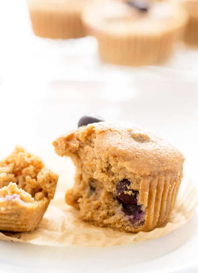 Healthy blueberry muffins, made with applesauce, yogurt, oats and big, beautiful fresh blueberries (or frozen!) and no added fat or refined sugars. All of the taste and texture, none of the guilt!