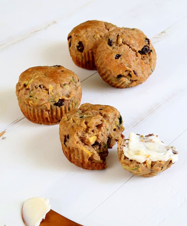 These healthy gluten free zucchini muffins are moist, tender, only lightly sweet—and the perfect way to use a bunch of summer's zucchini bounty!