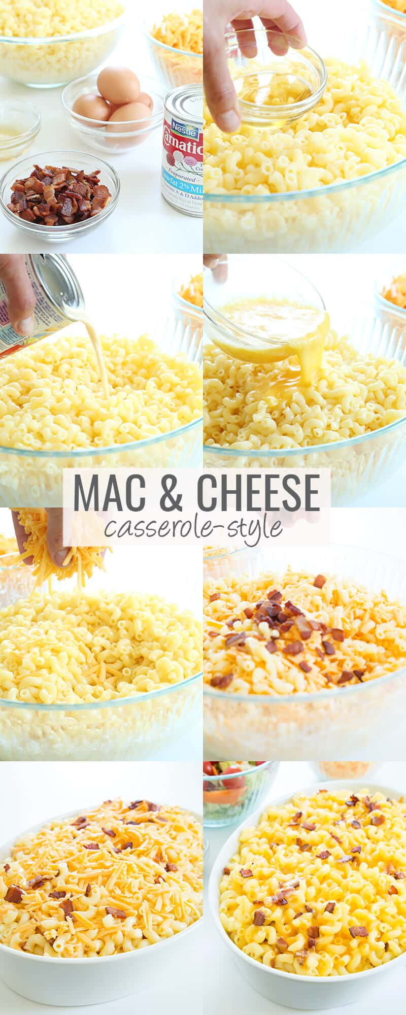 Pasta in a bowl with evaporated milk being poured in, pasta in a bowl with egg mixture being poured in, pasta in bowl with cheese, pasta in bowl with cheese and bacon bits