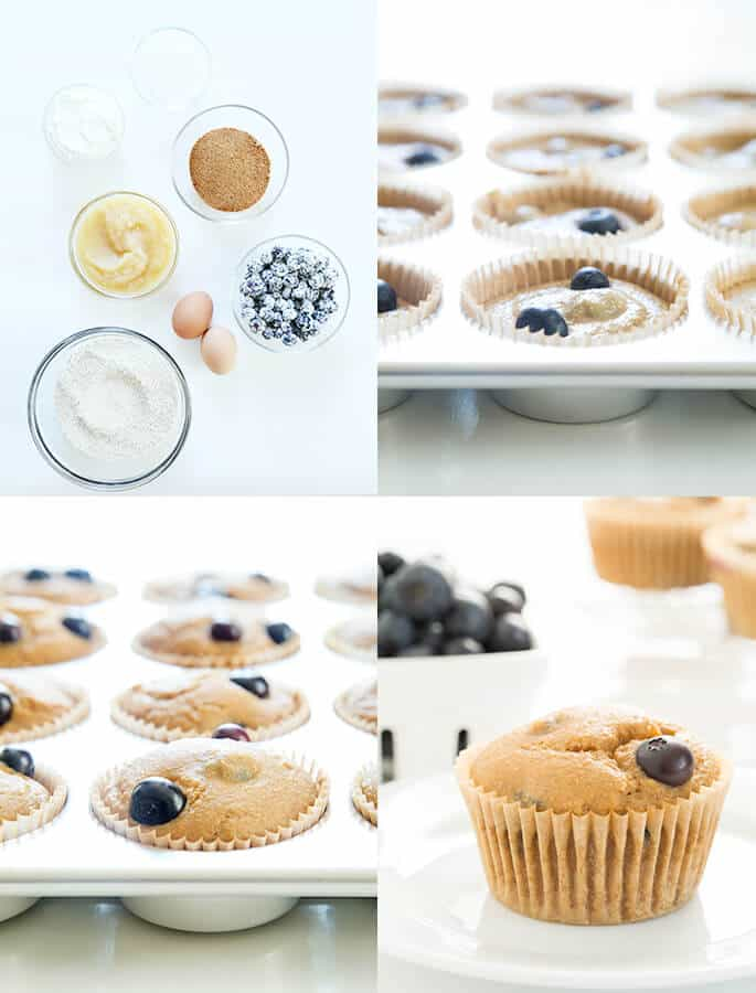 Healthy blueberry muffin ingredients, batter raw in muffin tin, baked in tin and baked on a plate