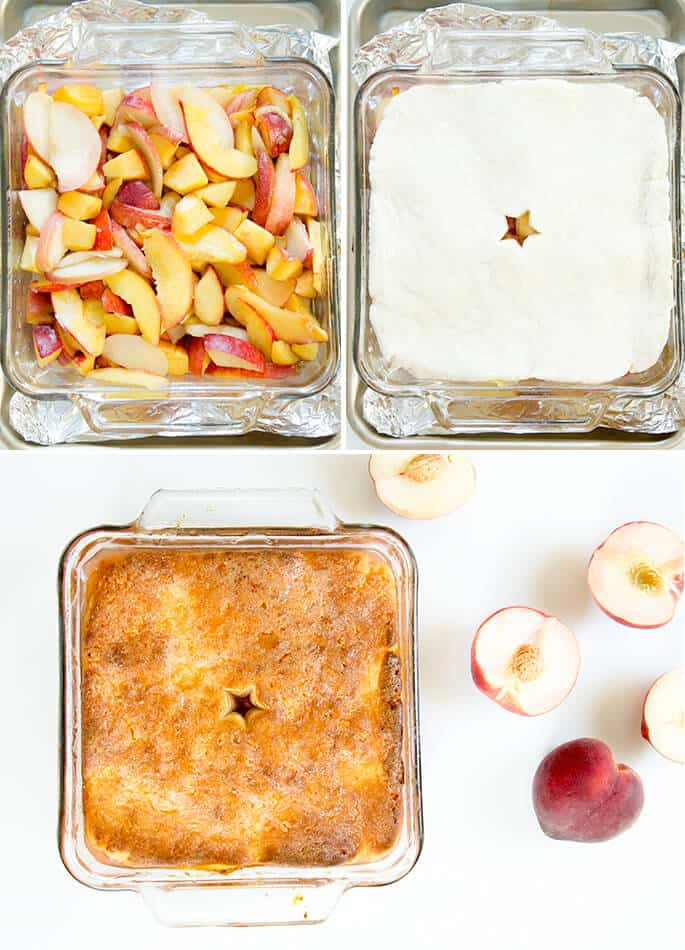 Overhead view of peaches and peach cobbler dish on a white surface