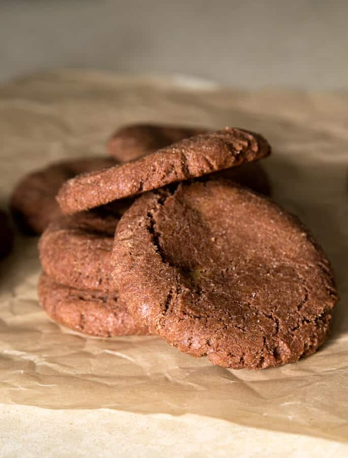 A close up of Nutella cookies on beige paper
