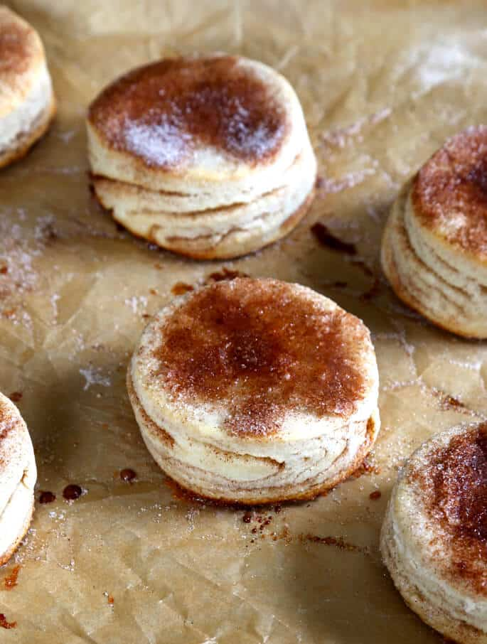 The delicate cinnamon-sugar stripes all the way through each biscuit, plus the caramelized sugar on top of each, make these gluten free cinnamon sugar biscuits a real brunch time show-stopper.