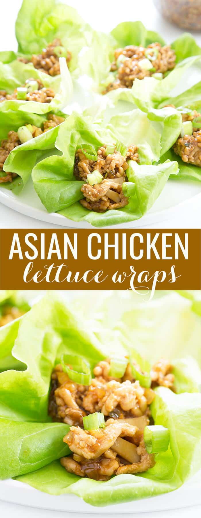 Asian lettuce chicken wraps on a white plate and lettuce below