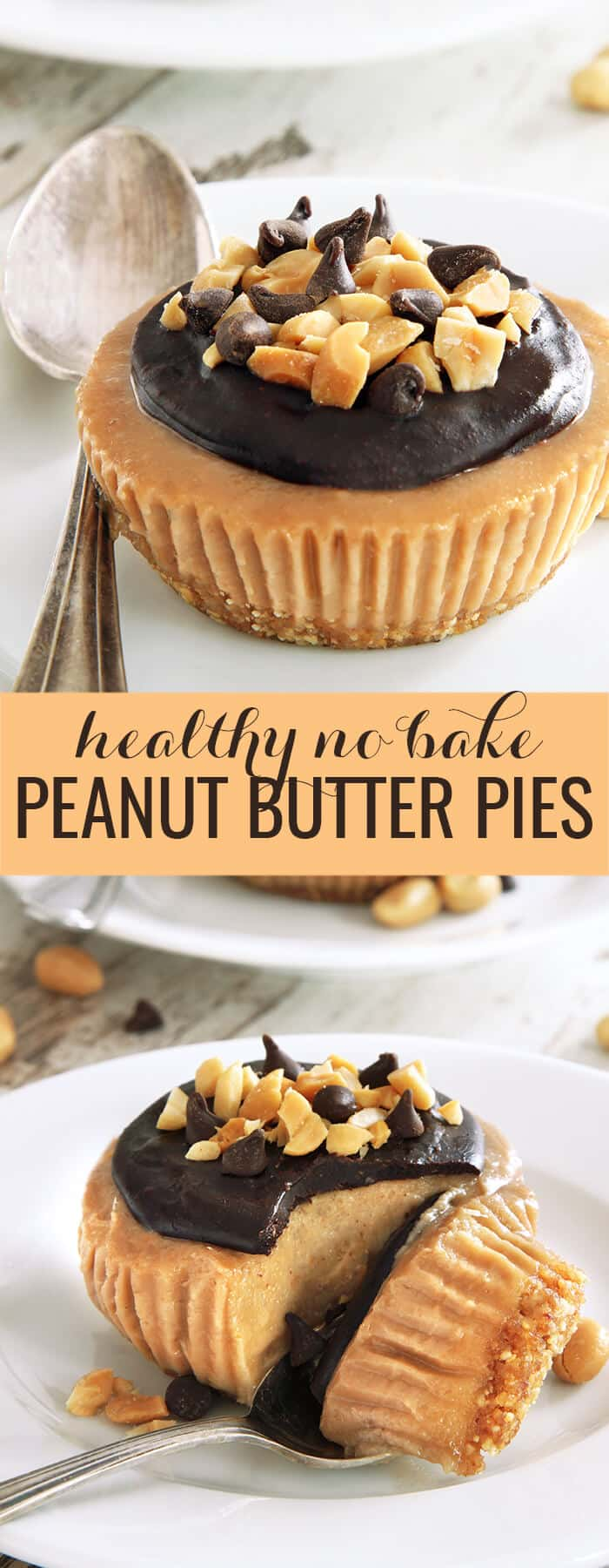 This no bake peanut butter pie recipe is made into healthy single-serve miniatures, with coconut milk instead of cream cheese in the filling. So simple and delicious! https://glutenfreeonashoestring.com/no-bake-peanut-butter-pie-gluten-free/