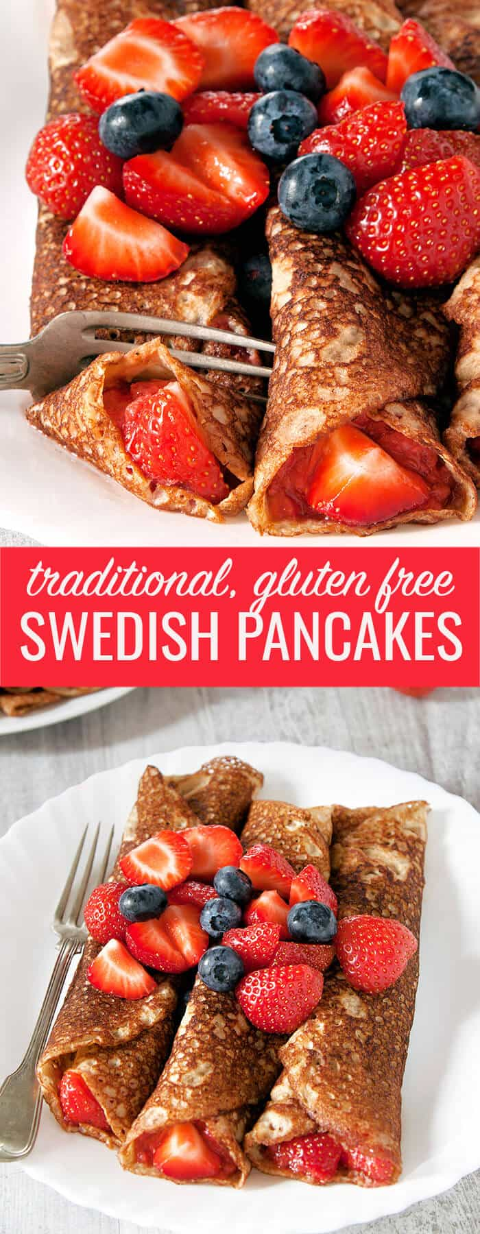 A close up view of Swedish pancakes and an overhead view of Swedish pancakes on white plates