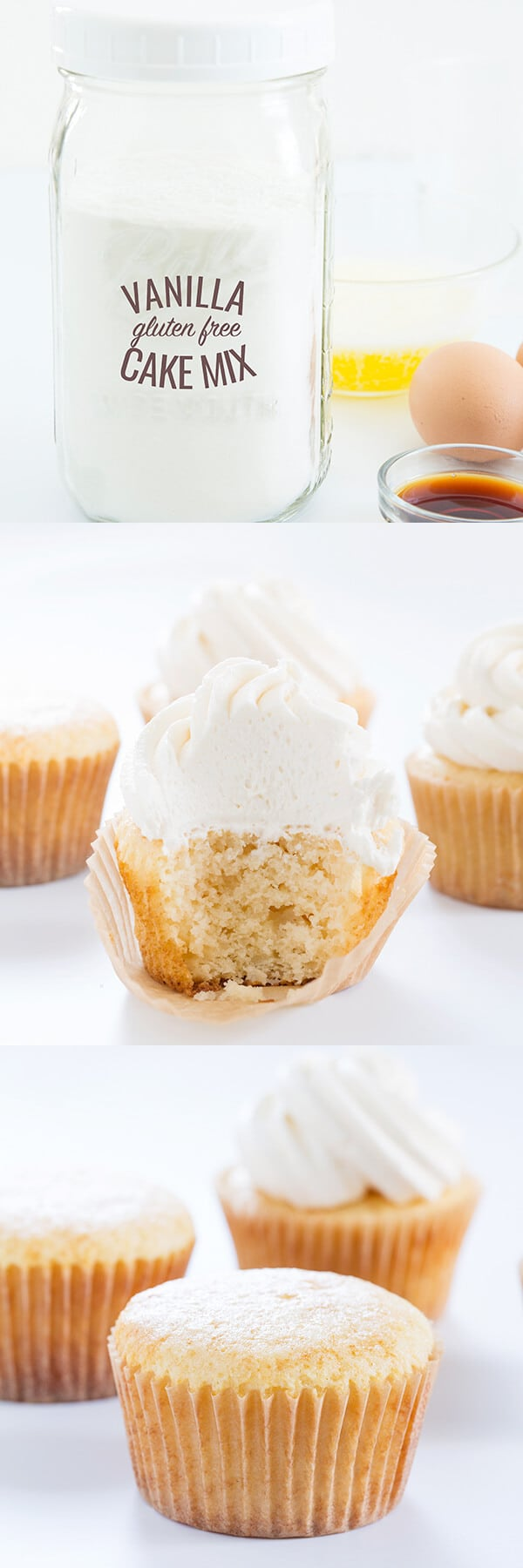 Inside of vanilla frosted cupcake with 3 other vanilla cupcakes in back on white surface