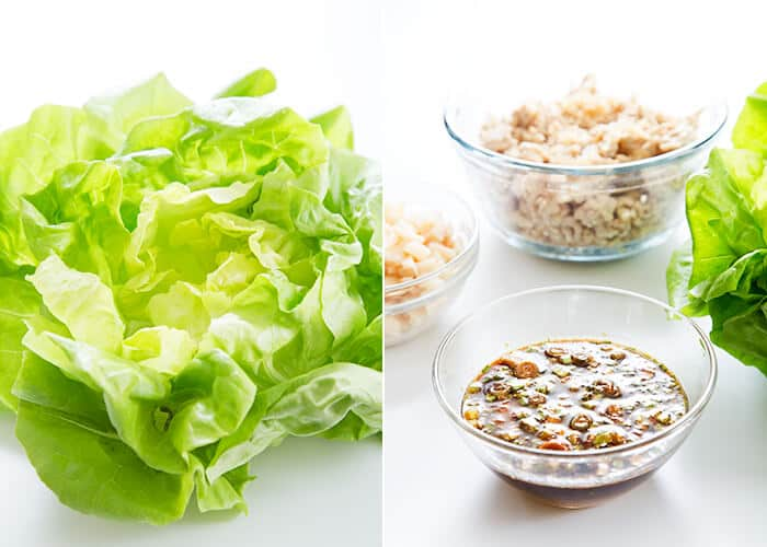 Lettuce on a white surface and bowls of ground chicken and sauce on a white surface