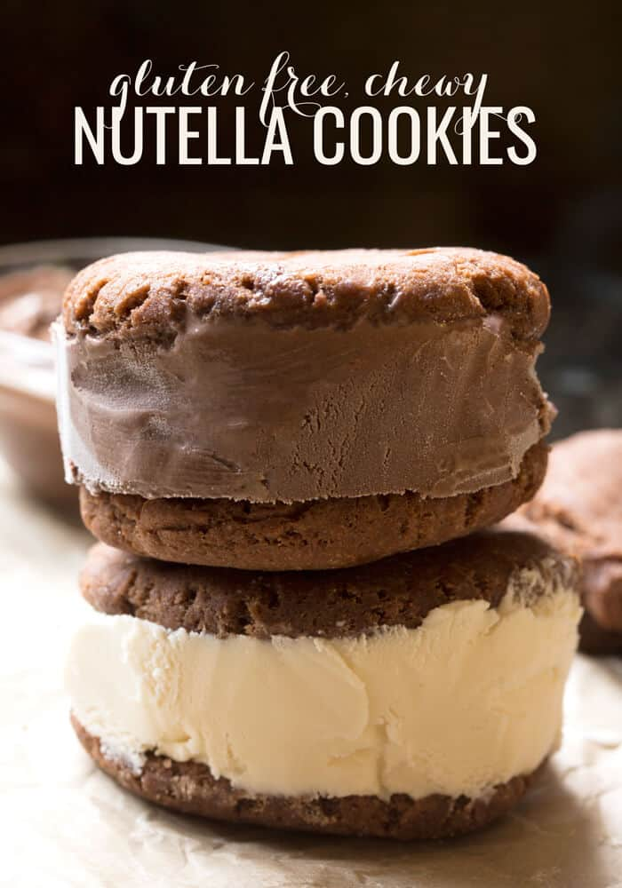 A close up of Nutella cookies with ice cream in between the cookies