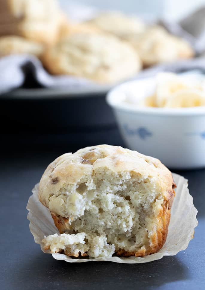 Moist, tender and fluffy gluten free banana muffins in the classic style, made with plenty of mashed ripe bananas and buttermilk for the perfect texture.