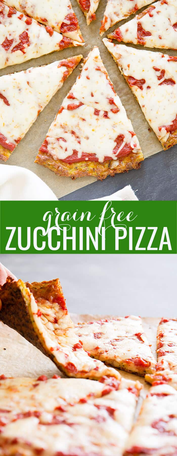 Overhead image of slices of zucchini pizza and a hand folding a piece of zucchini pizza