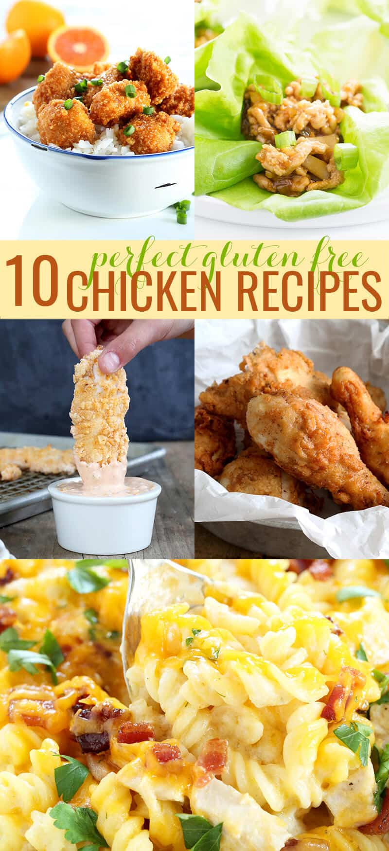 These 10 easy gluten free chicken recipes are the very best in everything from baked chicken casseroles and chicken fingers to take-out style orange chicken and fried chicken that tastes just like KFC!