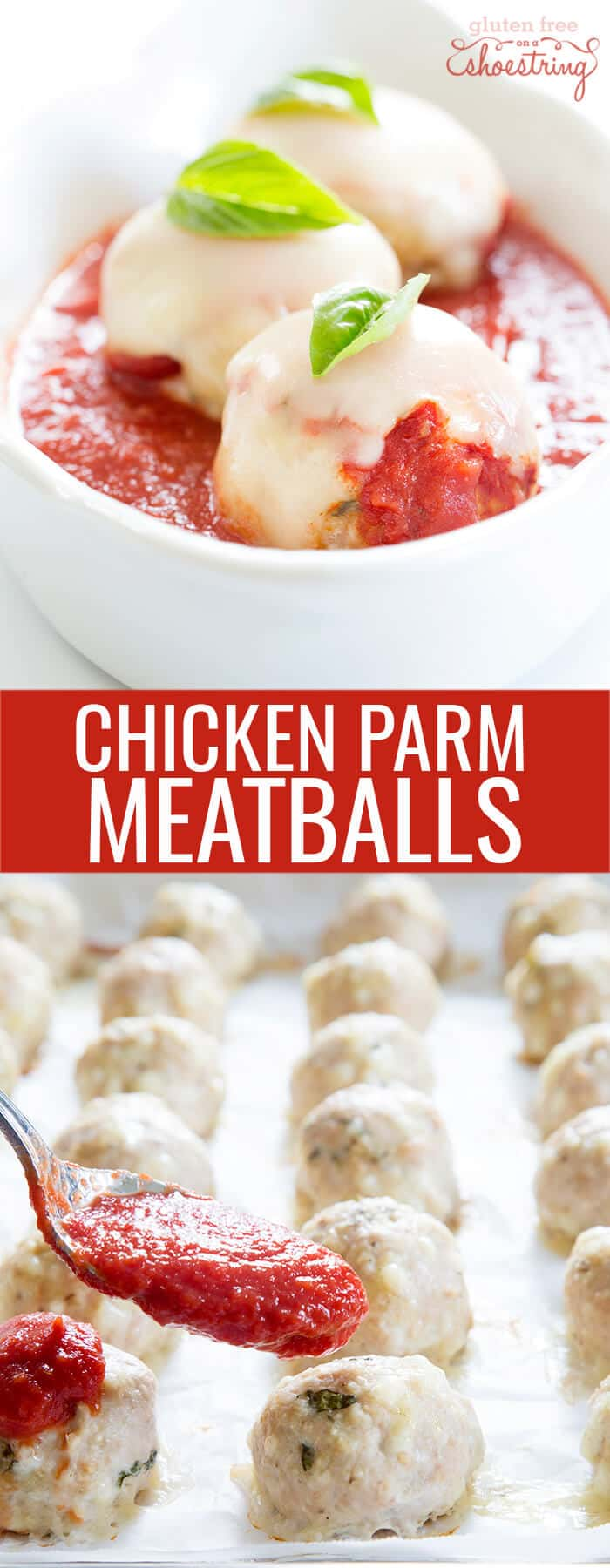 A white dish with chicken parm meatballs and a tray of chicken parm meatballs below