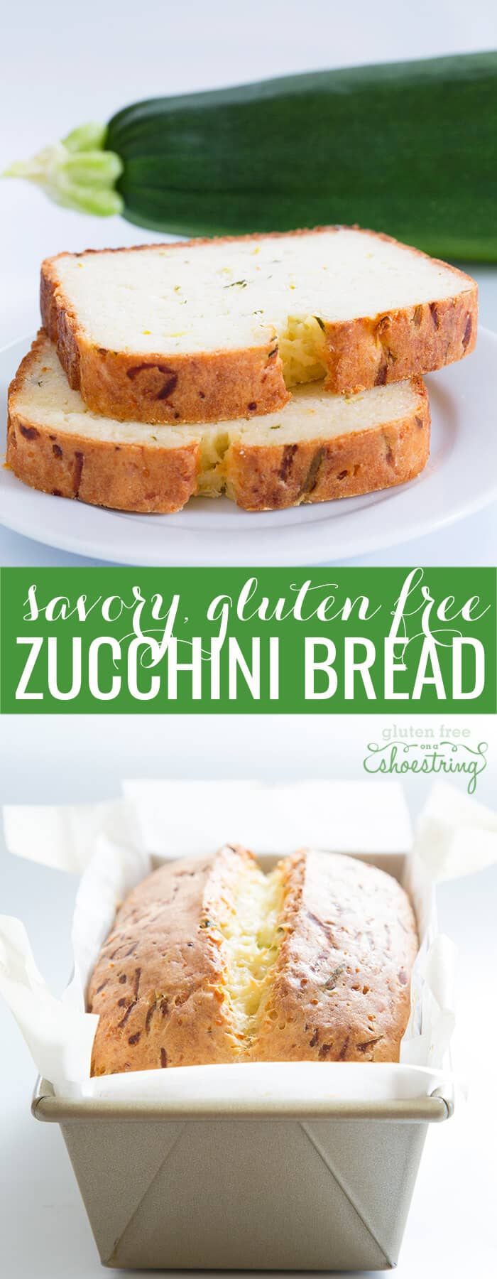 A stack of 2 slices of zucchini bread on a white plate and the loaf of zucchini bread in the loaf pan below