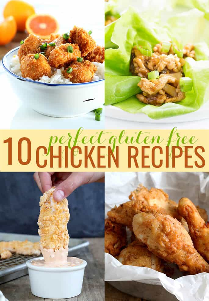 These 10 easy gluten free chicken recipes are the very best in everything from baked chicken casseroles and chicken fingers to take-out style orange chicken and fried chicken that tastes just like KFC.