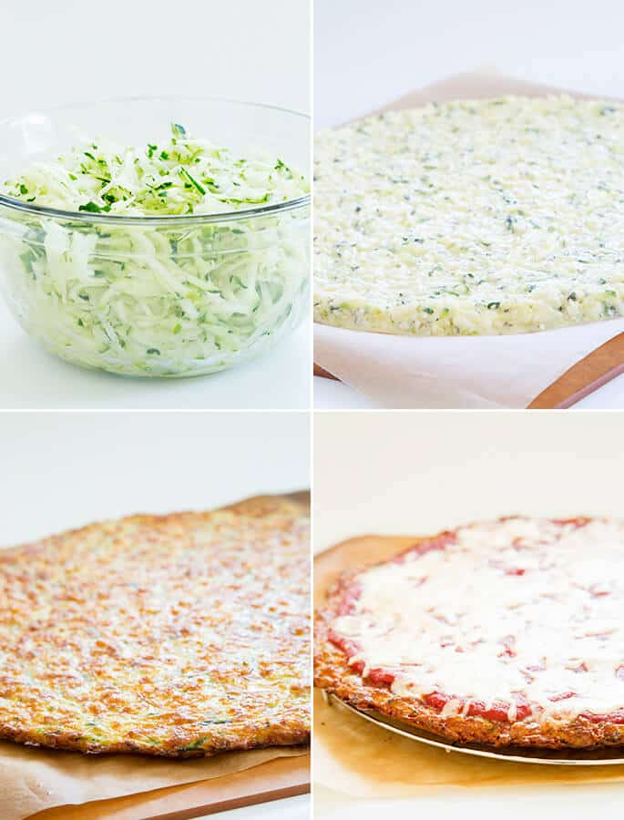 A bowl of shredded zucchini, a raw zucchini pizza, a baked pizza