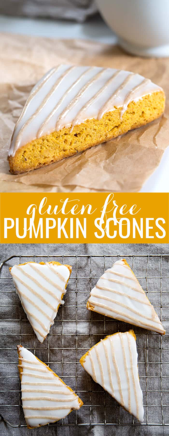 Side view of pumpkin scone on parchment paper and overhead view of scones on metal tray below