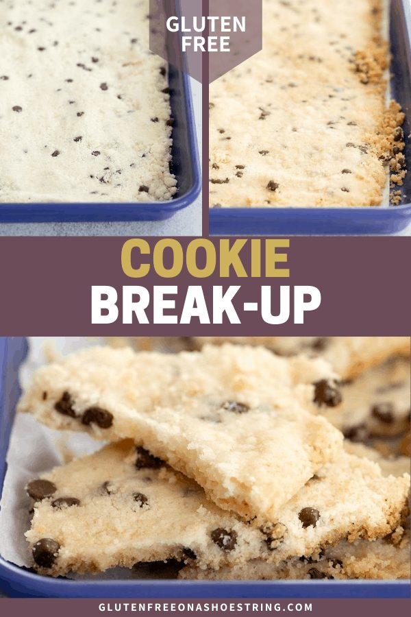 Cookie break up raw in pan, baked in pan, and baked and broken into pieces