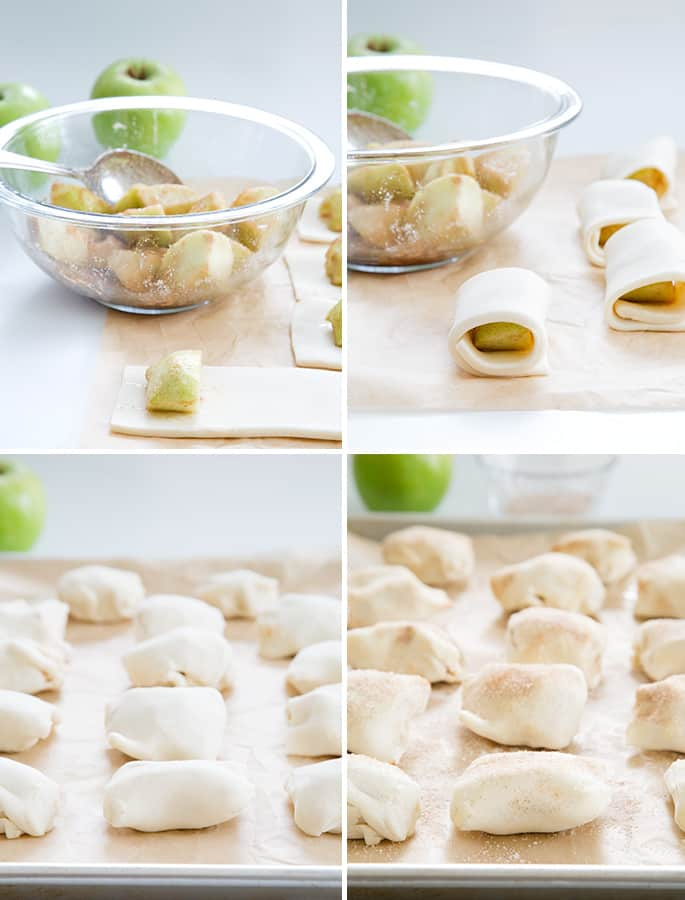 Apples in a bowl, apples wrapped in dough on parchment paper, dough rows on parchment paper, and the dough on parchment paper with cinnamon