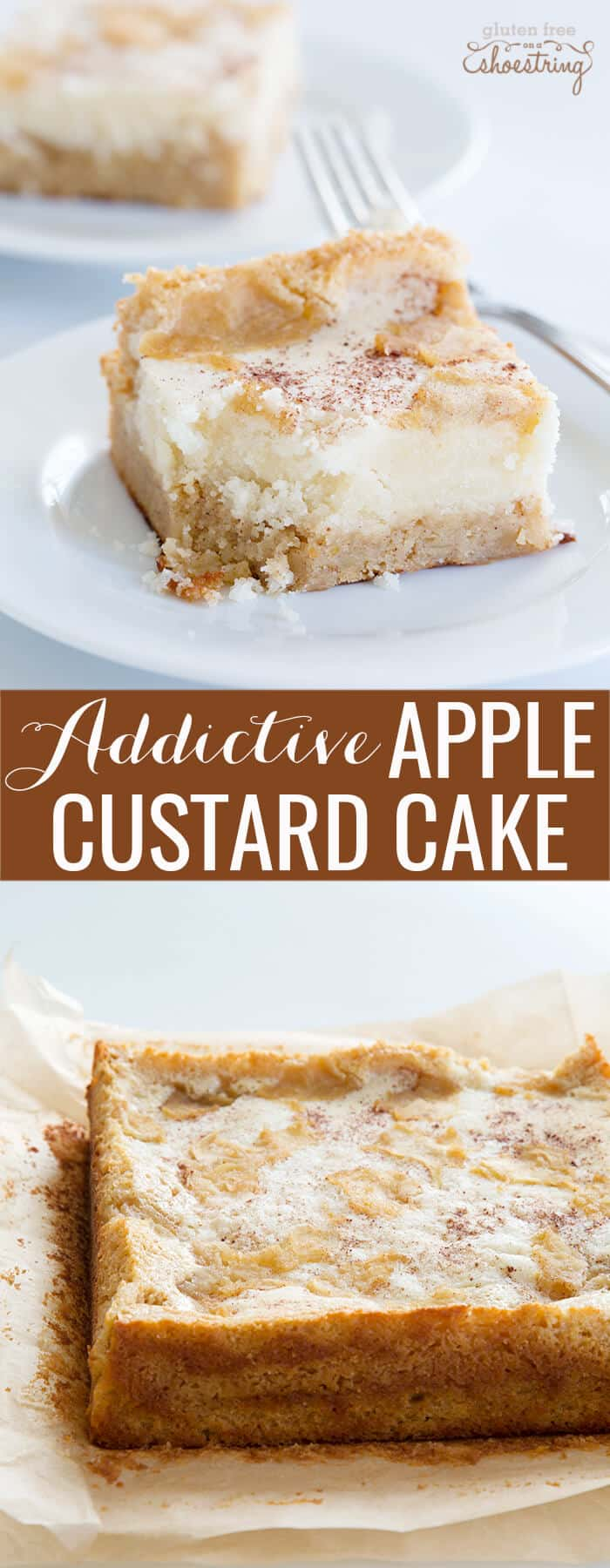 A piece of apple custard cake on a white plate and curst of apple custard cake below