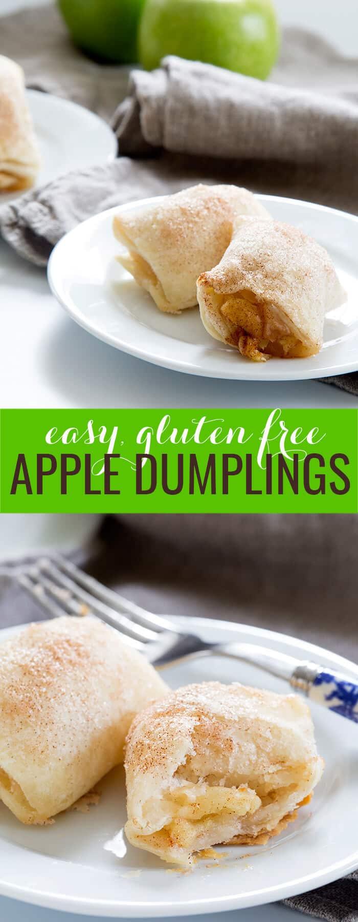2 apple dumplings on a plate and part of an apple dumpling with a fork below