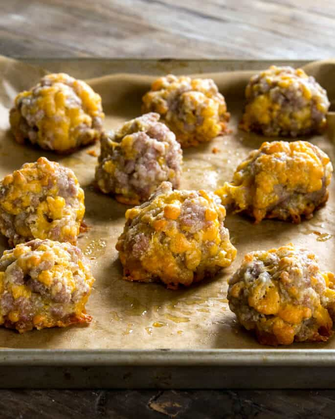 Made with our homemade Bisquick-style blend, good quality sausage and mild grated shallots, these gluten free sausage balls will bring back memories!