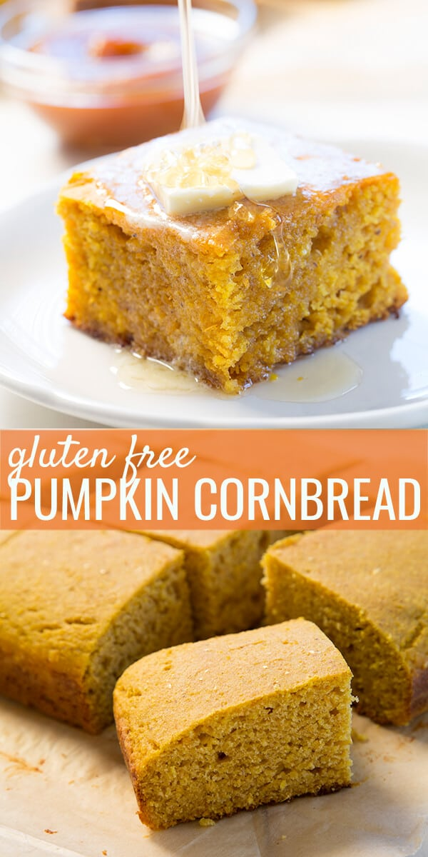 A close up of a slice of cornbread on a white plate and multiple slices of pumpkin cornbread below